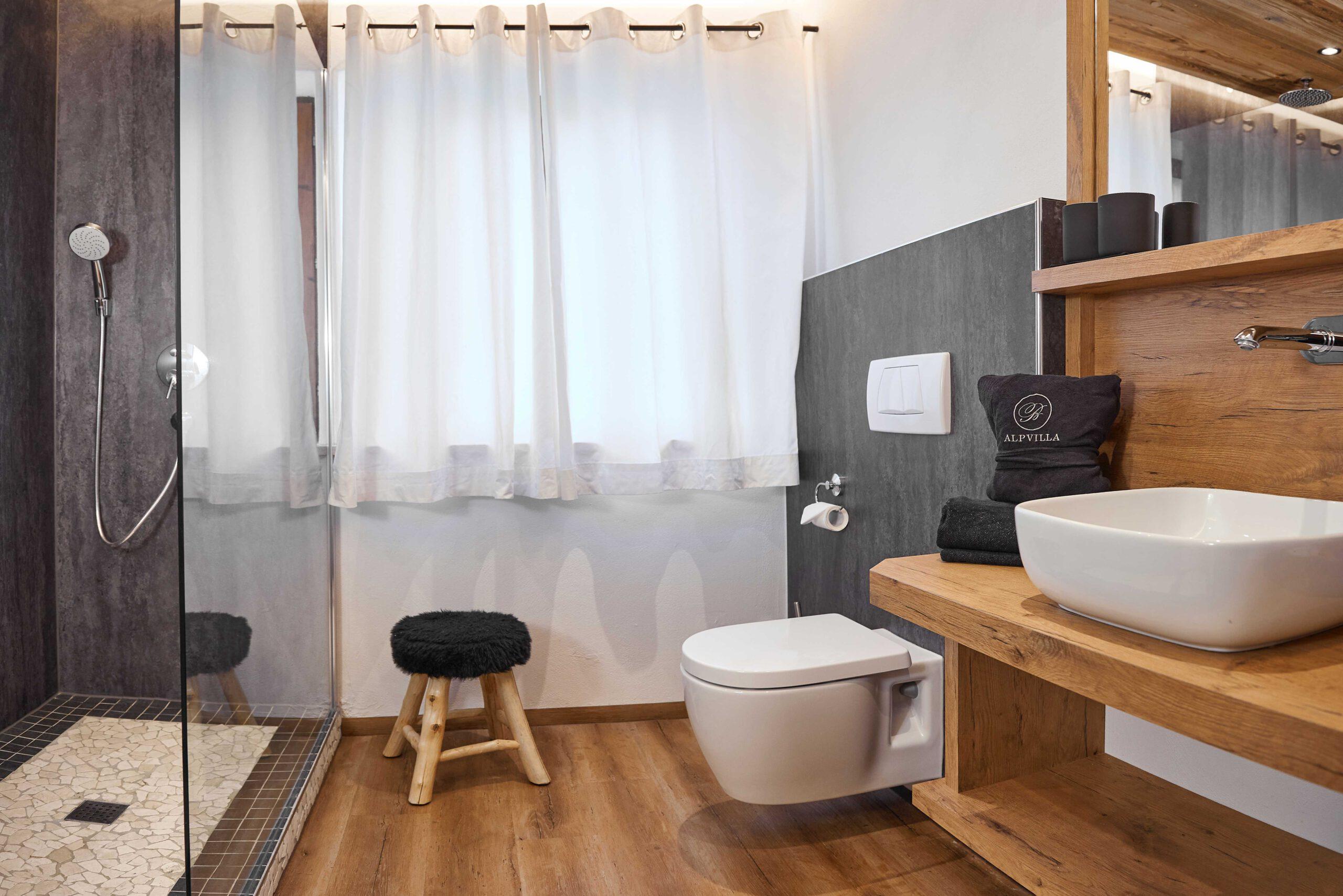 Badezimmer mit Dusche auf der linken Seite und Toilette sowie Waschbecken auf der rechten Seite