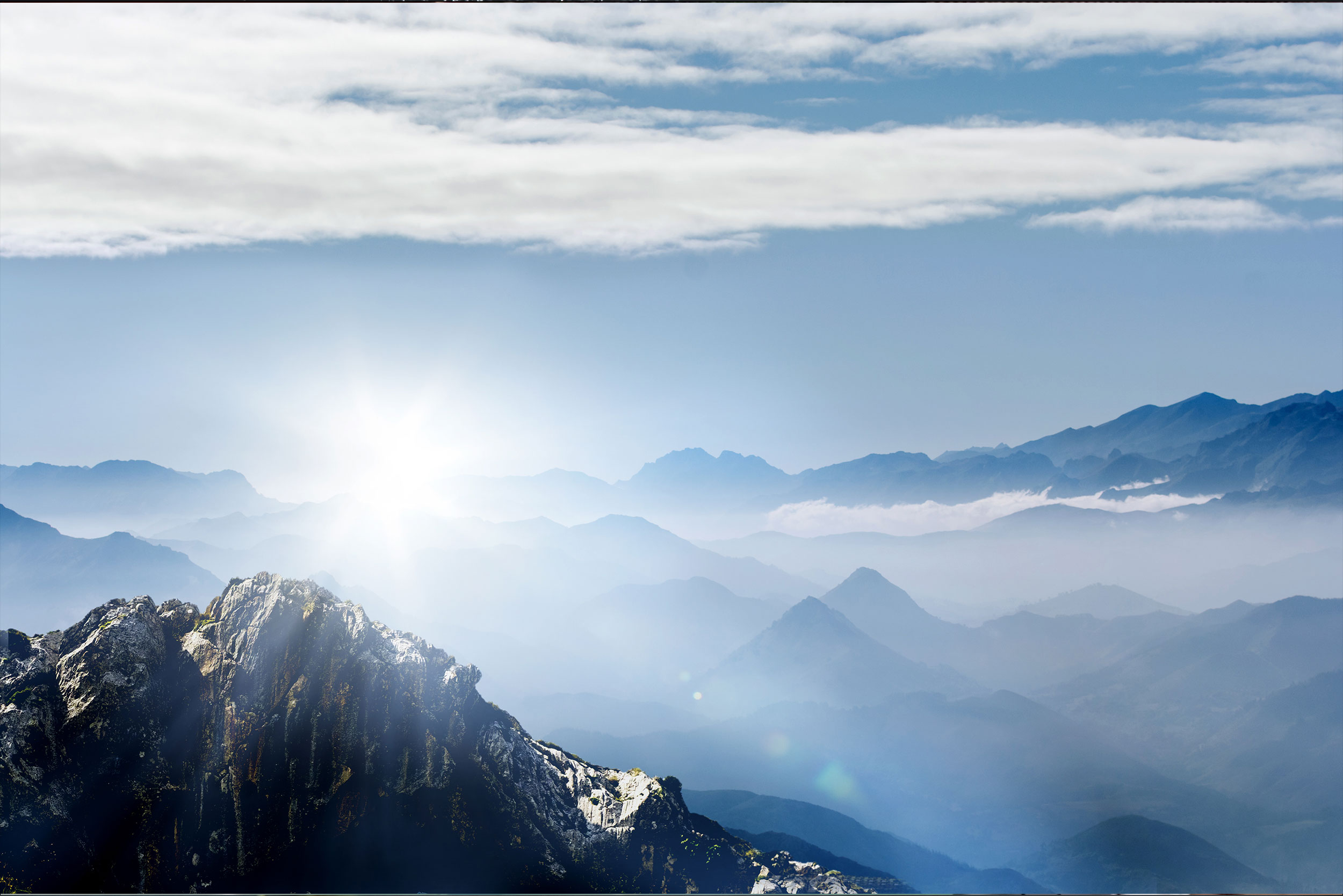 Panorama Allgäuer Alpen bei Sonnenschein